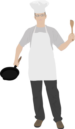 illustration of young kitchen chef Illustration