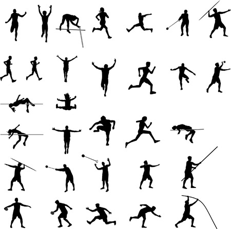 javelin throw: athletic silhouettes Illustration