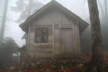 cottage: remota caba�a de madera de los bosques en la niebla