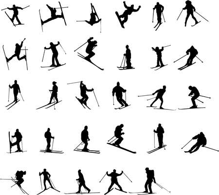 mountain skier: skiing silhouettes Illustration