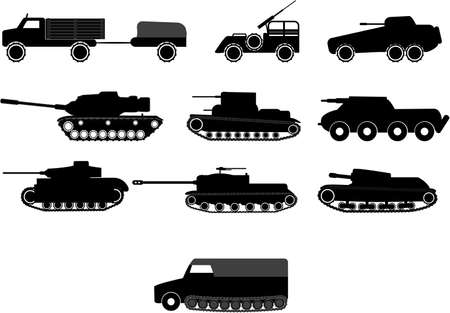 tanks and armoured vehicles illustrations Vector
