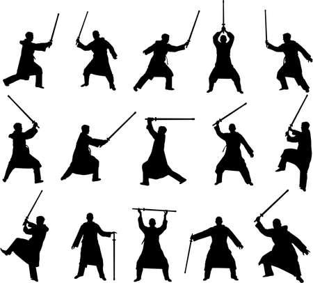 retreat: swordsman silhouettes Illustration