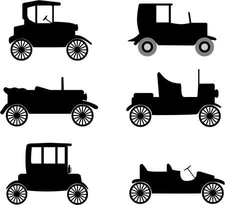 old timer: odltimer cars illustration Illustration