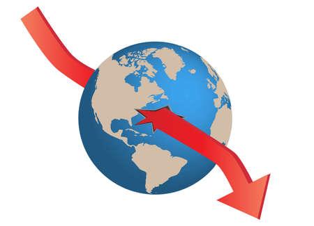 world globe and financial crisis Vector