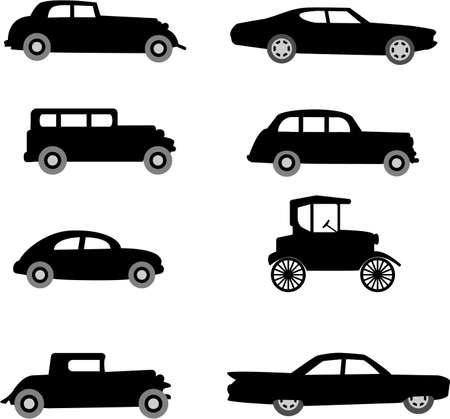 old timer cars vector illustration
