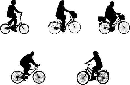 people on bicycles Vector