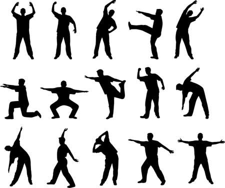stretching and warming up silhouettes Vector