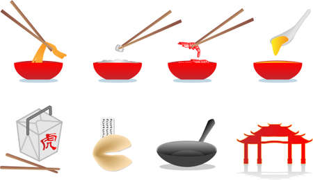 chinese food illustration Vector