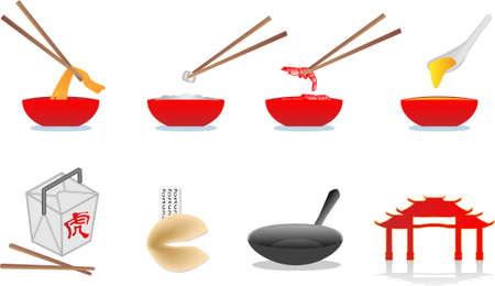 arroz chino: chino alimentos ilustración