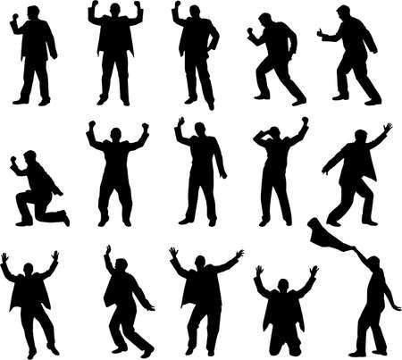 happy man silhouettes Stock Vector - 5233446