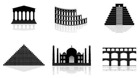 historical monuments vector illustrations Vector
