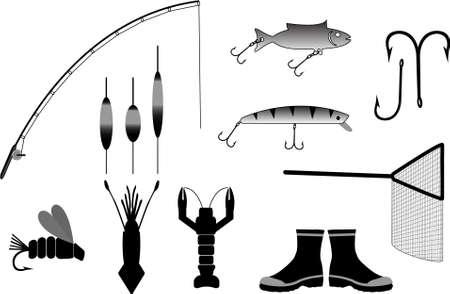 redes de pesca: artes de pesca de ilustraci�n vectorial