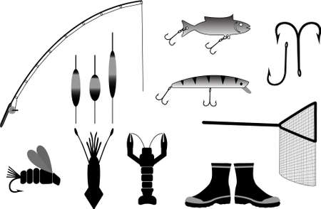 man fishing: fishing gear vector illustration