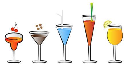 soda splash: cocktail glasses vector illustrations