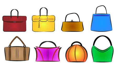 handbags: bags and purses vector illustration set