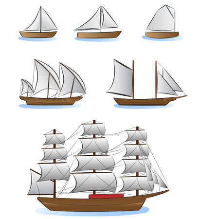 pirate crew: sailboats and ships illustration