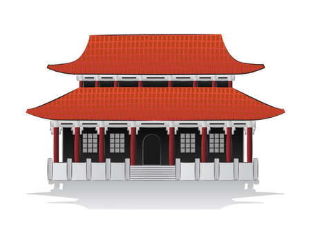 roof construction: Chinese house illustration Illustration