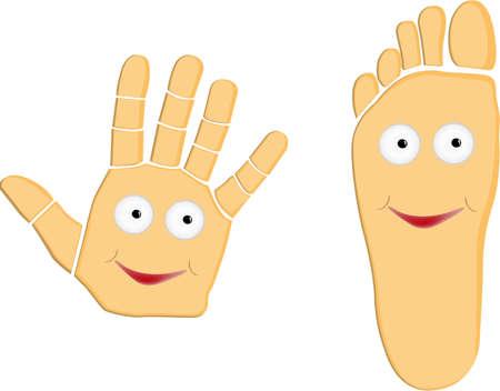 empreinte de main: illustration de la main et pied vecteurs