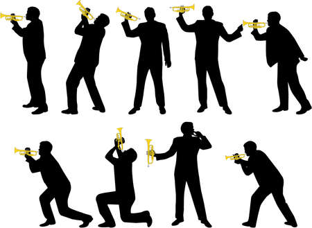trumpet player silhouettes Vector