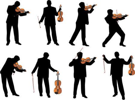 violines: silueta de vector de jugador de viol�n  Vectores
