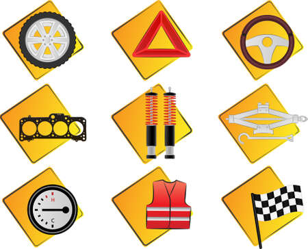 Car related vector icons Stock Vector - 6419565
