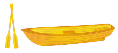 row boat: Wooden rowing boat illustration