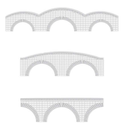 stone arches: stone bridges vector illustration (elements can be used to make larger bridges)