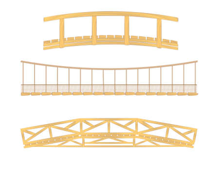 connection block: wooden and hanging bridge vector illustrations