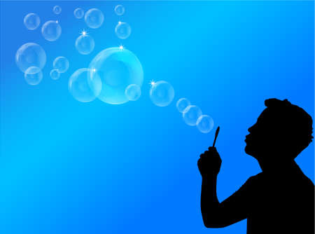 blowing bubbles illustration Vector