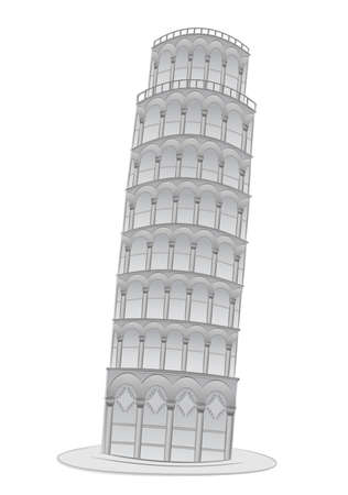 Leaning tower in Pisa  illustration Vector