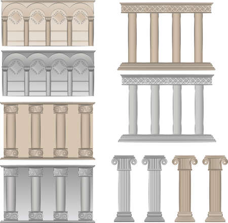 arcos de piedra: Ilustraci�n de la antigua de pilares Vectores