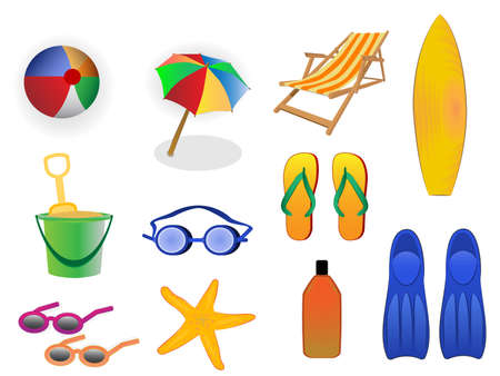 wind surfing: summer beach icons Illustration