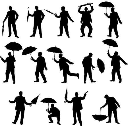 caballeros: hombre con siluetas de paraguas
