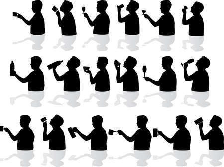 Drinking silhouettes  Vector