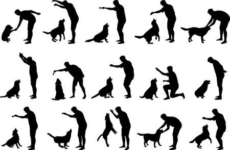 labrador retriever: Boy with a dog silhouettes