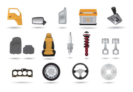 sensors: Car parts detailed illustrations set Illustration