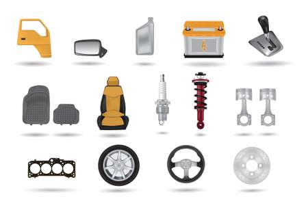 retrovisor: Conjunto de ilustraciones detalladas de elementos de coche