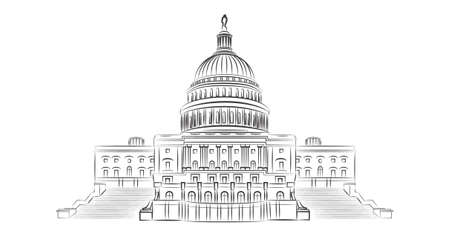 washington: Capitol hill outline vector illustration