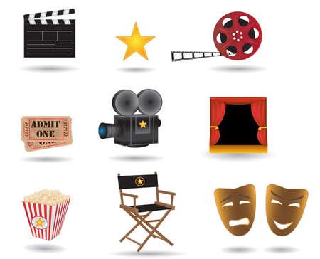 vedette de cin�ma: ic�nes de vecteur de film Illustration