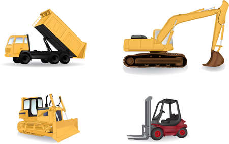 dump truck: Detailed industry machines vector illustration