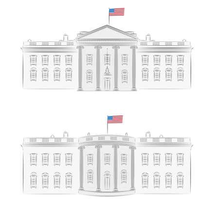 fachada de casa: Casa Blanca - ilustraci�n vectorial detallada de frente y atr�s, con la bandera americana
