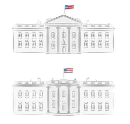 president of the usa: White House - detailed vector illustration of front and back, with american flag  Illustration