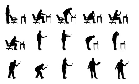 vector silhouettes of man with laptop  Stock Vector - 12428063
