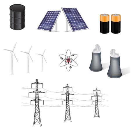 発電機: さまざまなエネルギー源のベクトル イラスト