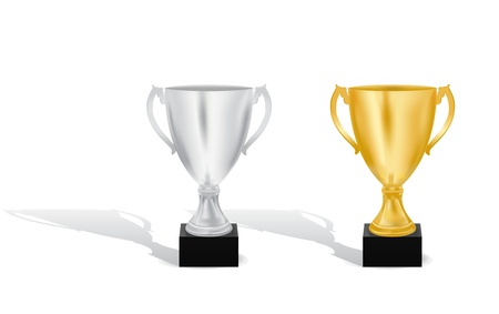 rank: Silver and Gold trophy cups vector illustration Illustration