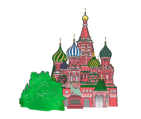red square moscow: St Basil vector illustration color version