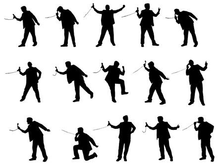 standardiste: silhouette de l'homme avec t�l�phone Illustration