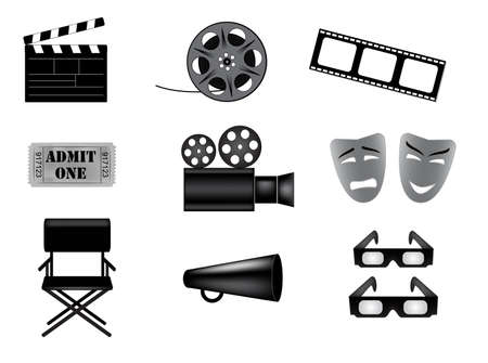 hollywood movie: movie vector icons set