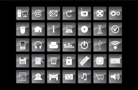 technology and web vector icon set Vector
