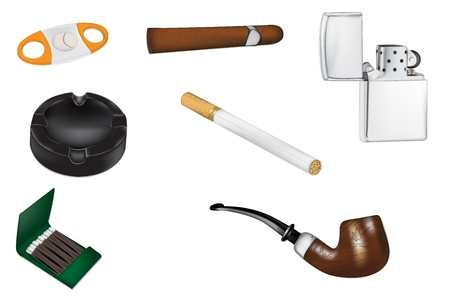 carcinogen: Smoking and Tobacco realistic vector illustrations